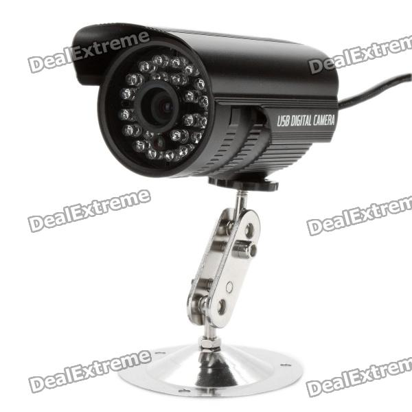 цены CMOS 300KP USB Wired Surveillance Security CCTV Camera w/ 24-IR LED Night Vision - Black