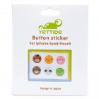 Stylish Home Button Sticker for iPhone 4 / 4S - Random Pattern (6-Piece Pack)