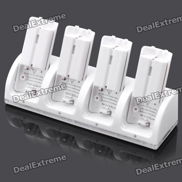Charger Dock Stand + 4 x 2800mAh Battery Set for Nintendo Wii Remote Controller - White