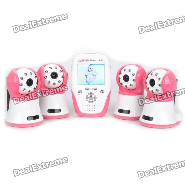 "2.4GHz Wireless 8-LED Night Vision Surveillance Camera with 2.5"" LCD Baby Monitor - Red + White"