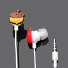 Cute Chip 'n' Dale Style Earphone w/ Clip for iPhone (3.5mm-Plug / 110cm-Cable)