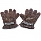 Sports Windproof Short Plush Fabric Winter Warm Gloves - Dark Brown (Pair)