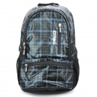 "Protective Casual Plaid Pattern Backpack Bag for 15.6"" Laptop Notebook - Black + White"