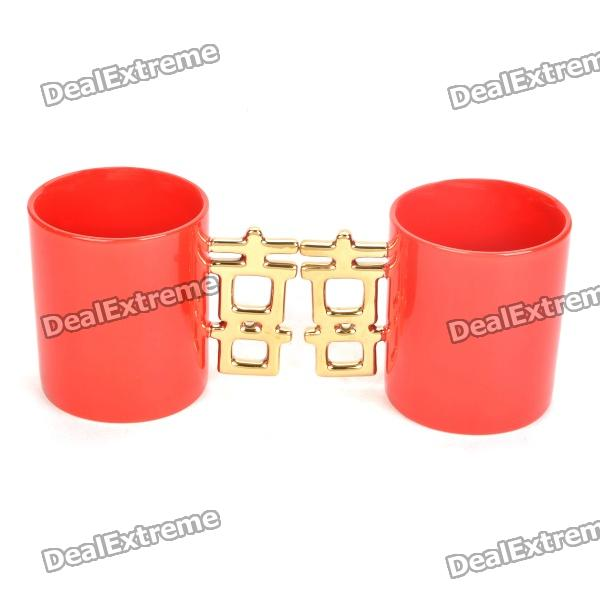 Double Happiness Ceramic Mug Cup - Red + Golden (Paar)