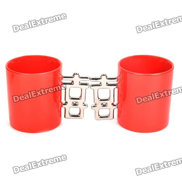 Double Happiness Ceramic Mug Cup - Red + Silber (Paar)
