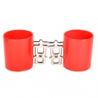 Double Happiness Ceramic Mug Cup - Red + Silver (Pair)