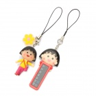 Cute Chibi Maruko-chan Figures ABS Temperature Sensor Pendant - Red + Black
