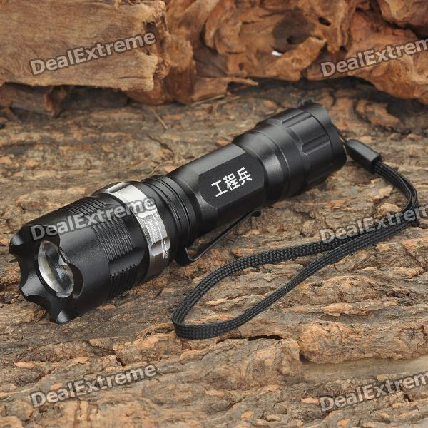 RS-821 3-Mode 240LM White LED Convex Lens Flashlight w/ Strap (1 x AA/14500)