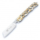 Stylish Mini Stainless Steel Manual-Release Folding Knife - Yellow Leopard (6.8cm-Blade)