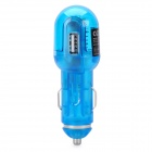 USB Car Charger with USB Data Cable + Charging Adapters for Samsung Phones - Blue