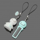 Cute Sunny Doll Style ABS Temperature Sensor Pendant - Blue + White