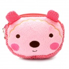 Cute Little Bear Style Dual Zippers Pure Cotton Cartoon Bag with Strap - Pink