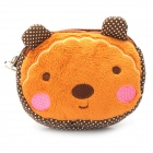 Cute Little Bear Style Dual Zippers Pure Cotton Bag with Strap - Brown