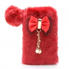 Fashion Plush Bag with Strap - Red