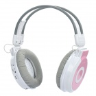 "1.2"" LCD Rechargeable MP3 Player Stereo Headphone with FM / 3.5mm Audio / TF Slot - White + Pink"
