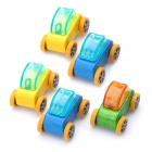Mini Wooden Building Beech Car Toy (5-Piece Pack / Random Colors)