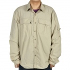Men's Quick-Dry Fabric Long Sleeves Shirt - Beige (Size- M)