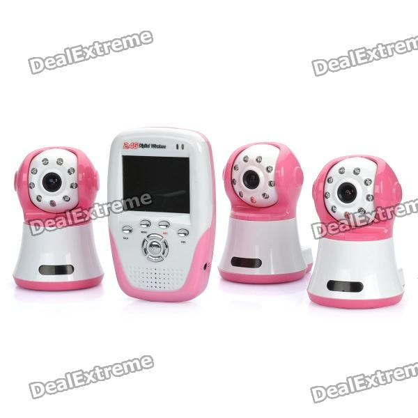 "2.4GHz Wireless 8-LED Night Vision Cameras with 1.8"" LCD Handheld Baby Monitor - Pink (3-Cameras)"