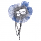 Stylish Acrylic Crystal Mesh Fabric Brooch - Blue + Silver