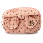 Lovely Bow Cotton Mini Dual-Zipper Cellphone Changes Bag / Purse - Pink