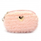 Cute Lovely Blended Mini Dual-Zipper Cellphone Changes Bag / Purse - Pink