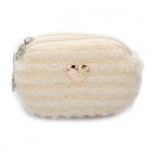 Cute Lovely Blended Mini Dual-Zipper Cellphone Changes Bag / Purse - Beige