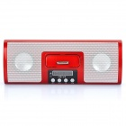 "1.4"" LED MP3 Player Speaker w/ FM / SD / USB for iPod / iPhone - White + Red"