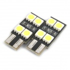 T10 2W 6500K 112-Lumen 8x5050 SMD LED White Light Lamps for Car (12V / Pair)