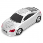 Car Style MP3 Music Speaker w/ FM / TF / Dual 3.5mm Jacks - Silver White