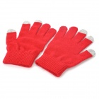 Universal Touch Screen Winter Gloves for Iphone / Ipad / Ipod - Black + Red (Pair)