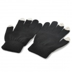 Universal Touch Screen Winter Gloves for iPhone / iPad / iPod - Black + Light Green (Pair)