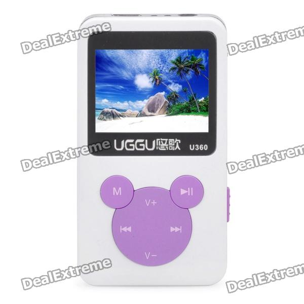 """1.4"""" LCD Rechargeable MP3 Player - White + Purple (4GB)"""