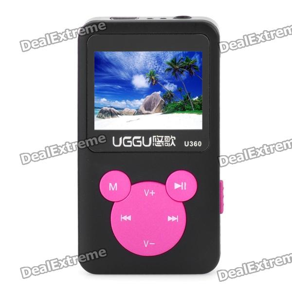 "1.4"" LCD Rechargeable MP3 Player - Black + Pink (4GB)"