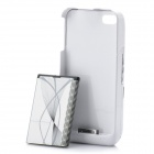 Stylish 4-in-1 3.7V 1500mAh External Battery Back Case w/ Speaker / Stand for iPhone 4 - White