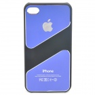 Protective Aluminum Alloy Back Case for iPhone 4 / 4S - Blue + Black