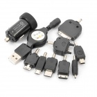 Mini Car Charger with Retractable USB Cable + 8 Mobile Phone Adapters