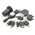 Car Cigarette Powered Adapter w/ Charging Adapters for Cellphone - Black