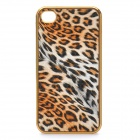 3D Leopard Style Protective PU Leather Case for Iphone 4 - Yellow + Golden