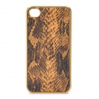 3D Snake Skin Style Protective PU Leather Case for iPhone 4 - Golden + Black