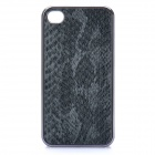 3D Snake Skin Style Protective PU Leather Case for iPhone 4 - Black