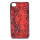 3D Snake Skin Style Protective PU Leather Case for Iphone 4 - Red + Black