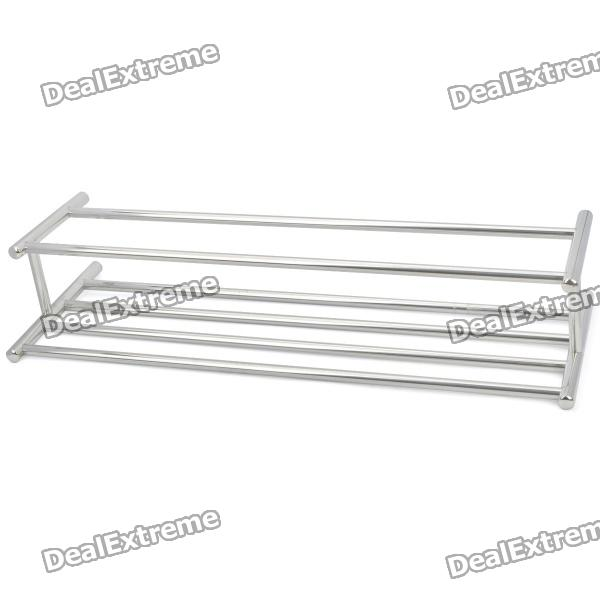 24 Chromed Stainless Steel Dual-Deck Bathroom Towel Rack jd 303 50 6 bar stainless steel bathroom towel rack silver