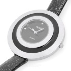 Genuine Daybird 3470 Lady's Fashion PU Leather Band Quartz Wrist Watch - Black + Silver (1 x LR626)