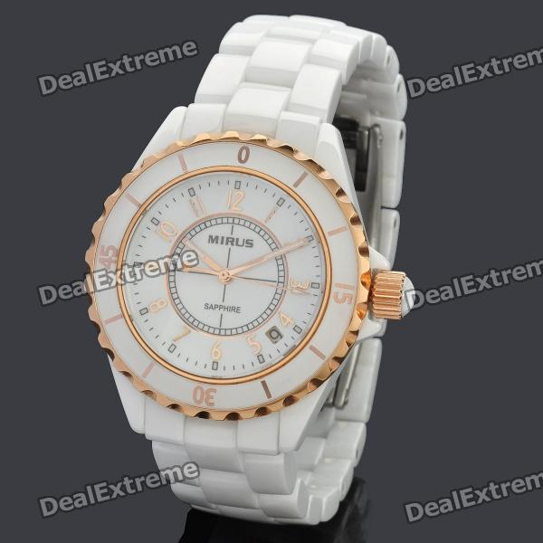 MIRUS Ceramic Quartz Wrist Watch for Man w/ Luminous Hands - White (1 x LR626)