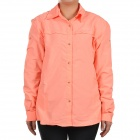 Fashion Quick-Dry Outdoor Sun Protective Shirt with Removable Sleeves - Orange Red (Size L)