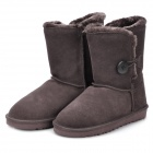 Women's Winter Mid Calf Warm Snow Boots Shoes - Brown (Size 36)