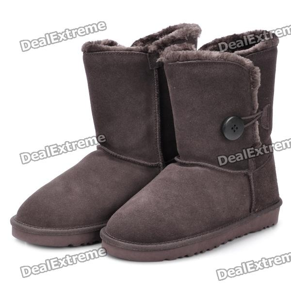 Women's Winter Mid Calf Warm Snow Boots Shoes - Brown (Size 40)