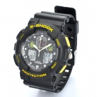 Sports Diving Dual Time Display Wrist Watch w/ Alarm Clock / Stopwatch - Black + Yellow (1 x CR2016)