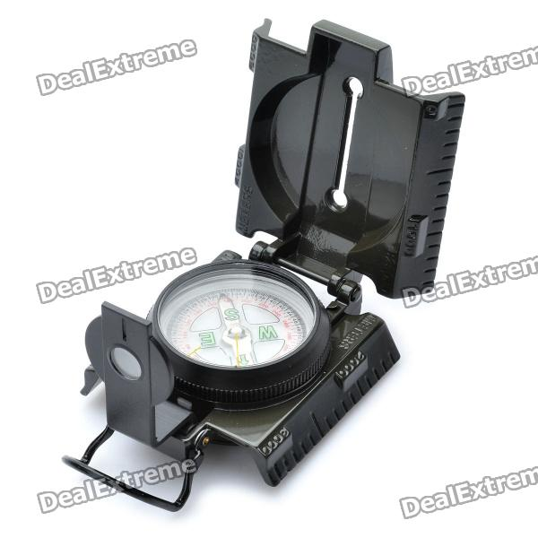 Aluminum Military Marching Lensatic Compass w/ 1 Red LED Flashlight (1 x CR2025)