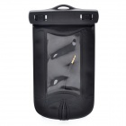 Outdoor Waterproof Bag Case with Earphone for Cell Phone - Black